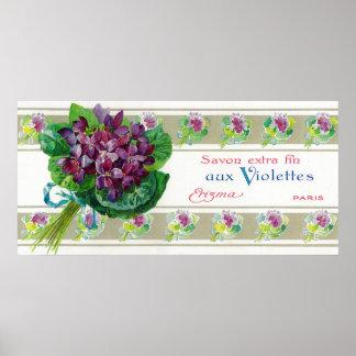 Violettes Soap LabelParis, France Posters