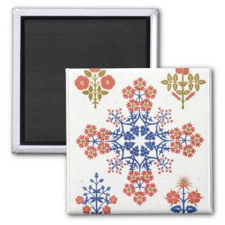 Violiet, iris and tulip motif wallpaper design, pr 2 inch square magnet