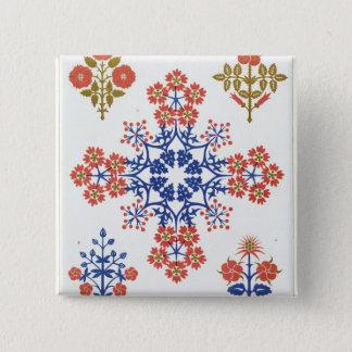 Violiet, iris and tulip motif wallpaper design, pr button