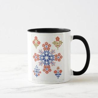Violiet, iris and tulip motif wallpaper design, pr mug