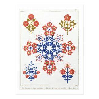 Violiet, iris and tulip motif wallpaper design, pr postcard