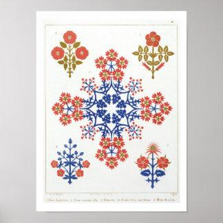 Violiet, iris and tulip motif wallpaper design, pr poster