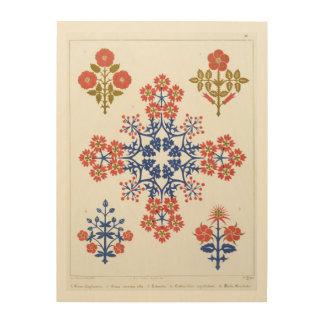 Violiet, iris and tulip motif wallpaper design, pr wood print