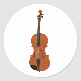 Violin 3D Model: Traditional Wood Finish Classic Round Sticker