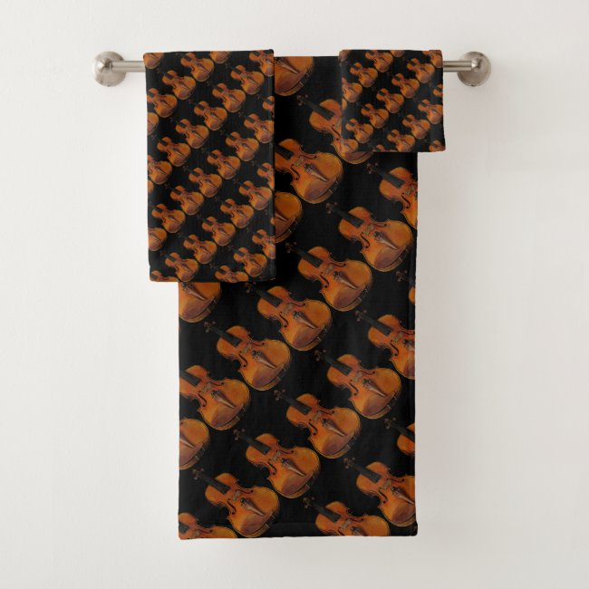 Violin Abstract Pattern Music Bath Towels
