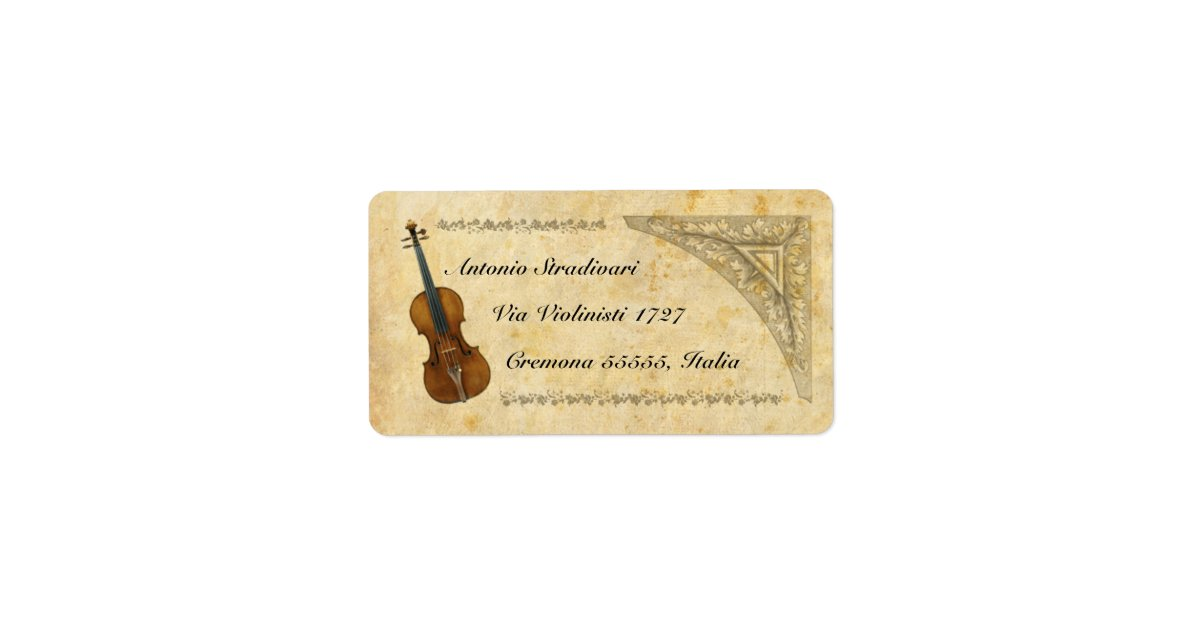 Violin Address Label  Zazzle