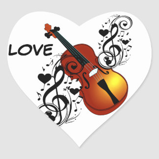 Violín, amante en Heart_ Pegatina En Forma De Corazón