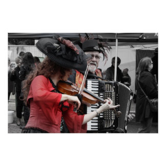 Violin and Accordion Player _ French festival Print