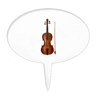 VIolin and bow realistic graphic Cake Pick