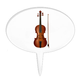 VIolin and bow realistic graphic Oval Cake Pick
