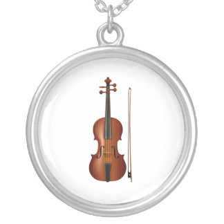 VIolin and bow realistic graphic Silver Plated Necklace