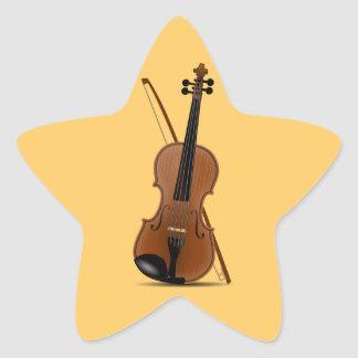 Violin and Bow star-shaped sticker