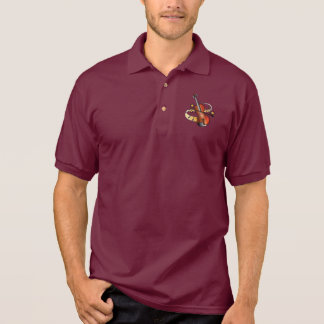 Violin and Bow with Notes and Stars Polo Shirt