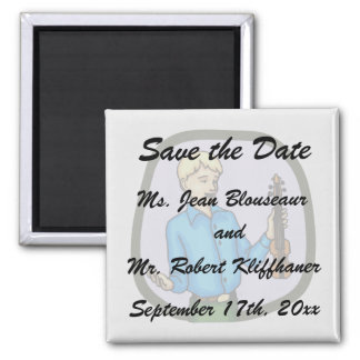 Violin and Boy Graphic Image 2 Inch Square Magnet