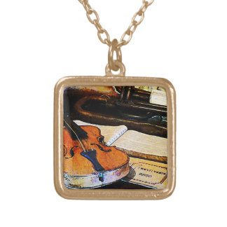 Violin and Bugle Gold Plated Necklace