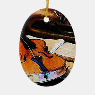 Violin and Bugle Double-Sided Oval Ceramic Christmas Ornament
