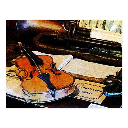 Violin and Bugle Postcard