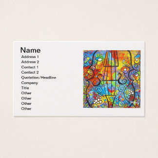 Violin and Flowers Customizable Business Cards