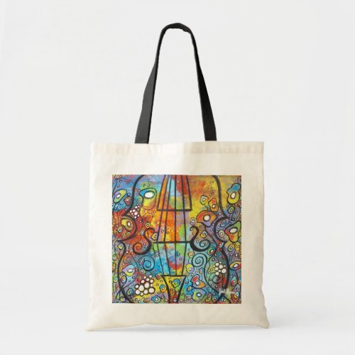 Violin and Flowers Budget Tote Bag