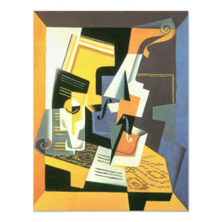 Violin and Glass by Juan Gris, Vintage Cubism 4.25x5.5 Paper Invitation Card