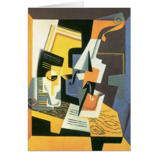 Violin and Glass by Juan Gris, Vintage Cubism Greeting Card