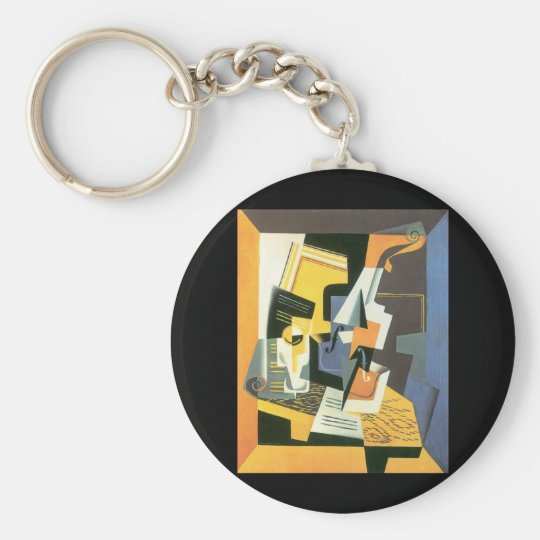 Violin and Glass by Juan Gris, Vintage Cubism Keychain