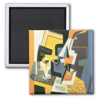 Violin and Glass by Juan Gris, Vintage Cubism 2 Inch Square Magnet
