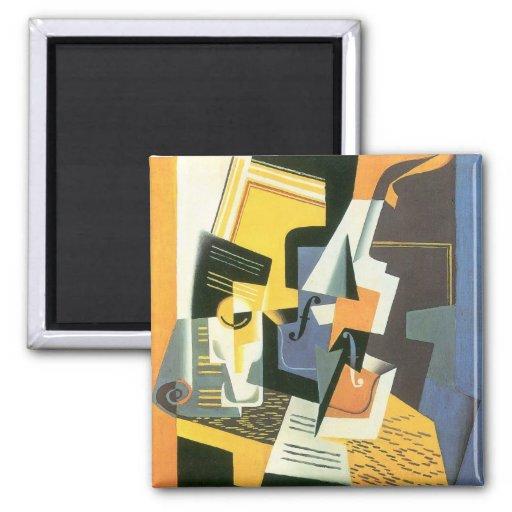 Violin and Glass by Juan Gris, Vintage Cubism Fridge Magnets
