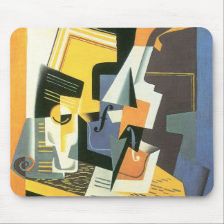 Violin and Glass by Juan Gris, Vintage Cubism Mouse Pad