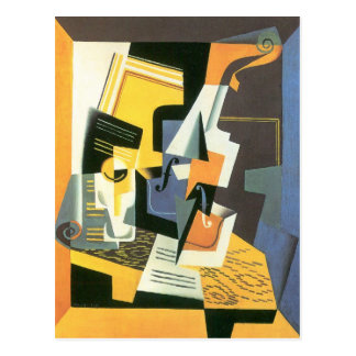 Violin and Glass by Juan Gris, Vintage Cubism Postcard