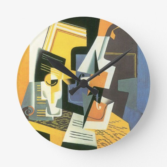 Violin and Glass by Juan Gris, Vintage Cubism Round Clock