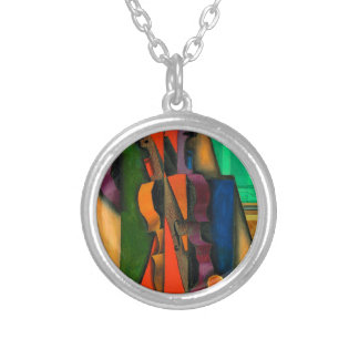 Violin and Guitar by Juan Gris Round Pendant Necklace