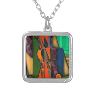 Violin and Guitar by Juan Gris Square Pendant Necklace
