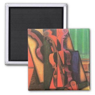 Violin and Guitar by Juan Gris, Vintage Cubism Art 2 Inch Square Magnet