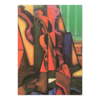 Violin and Guitar by Juan Gris, Vintage Cubism Art 5x7 Paper Invitation Card