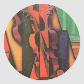 Violin and Guitar by Juan Gris, Vintage Cubism Art Classic Round Sticker
