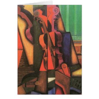 Violin and Guitar by Juan Gris, Vintage Cubism Art Greeting Card