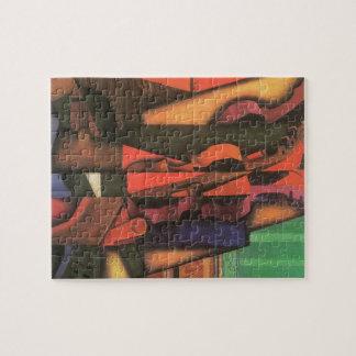 Violin and Guitar by Juan Gris, Vintage Cubism Art Jigsaw Puzzle