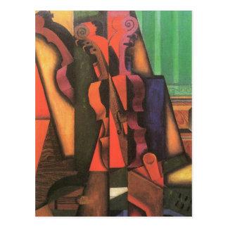 Violin and Guitar by Juan Gris, Vintage Cubism Art Postcard