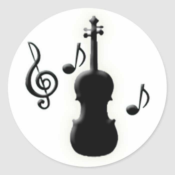 Violin and Music Notes Classic Round Sticker