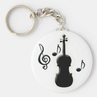 Violin and Music Notes Keychain