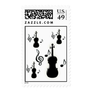 Violin and Music Notes Postage