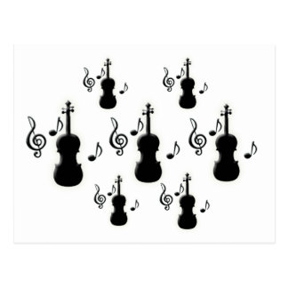 Violin and Music Notes Postcard