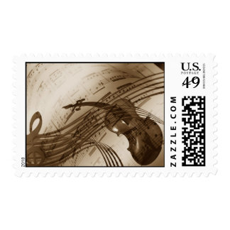 Violin and Music Score Postage Stamps