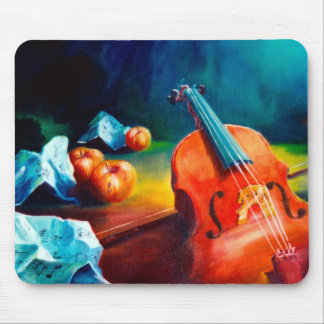 Violin and Notes Painting Mouse Pad