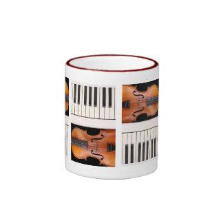 Violin and piano keys ringer coffee mug