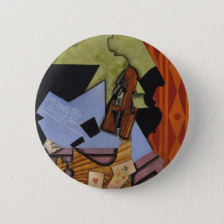 Violin and Playing Cards on a Table Pinback Button