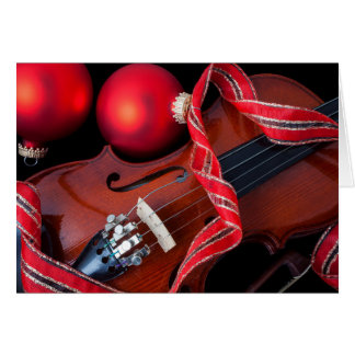 Violin and red christmas ornaments card