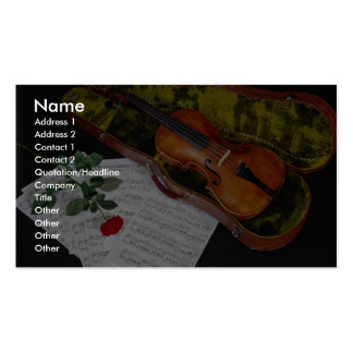 Violin and red rose on black background Double-Sided standard business cards (Pack of 100)