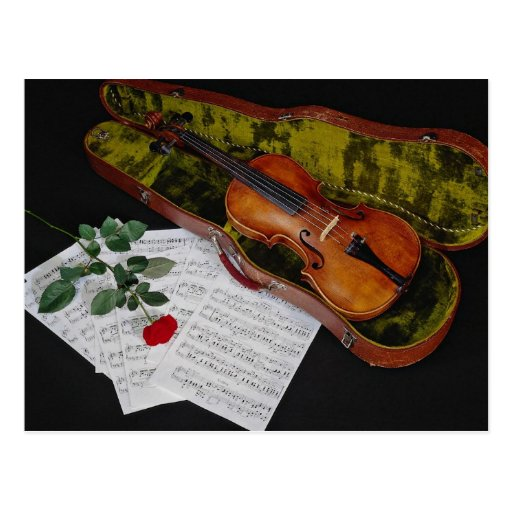 Violin and Case with Red Rose and Sheet Music Postcard